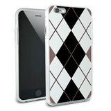 Argyle Hipster Black White - Preppy Snap On Protective Slim Hybrid Rubber Bumper Case for Apple iPhone 6/6s Plus