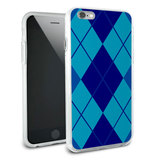 Argyle Hipster Blue - Preppy Snap On Protective Slim Hybrid Rubber Bumper Case for Apple iPhone 6/6s Plus