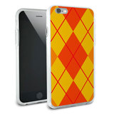 Argyle Hipster Orange - Preppy Snap On Protective Slim Hybrid Rubber Bumper Case for Apple iPhone 6/6s Plus