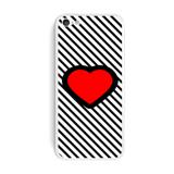 Big Red Heart Love Black Stripes iPhone 5C Skin
