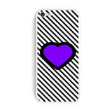 Big Purple Heart Love Black Stripes iPhone 5C Skin