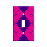 Argyle Hipster Purple Fuchsia - Preppy Light Switch Plate Cover