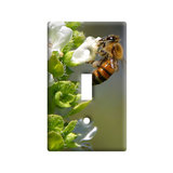 Bee On White Flower Light Switch Plate Cover