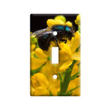Blue Bee on Flowers Light Switch Plate Cover
