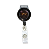 Black Persian Cat Face Retractable Badge Card ID Holder