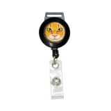 Orange Tabby Cat Face - Pet Kitty Retractable Badge Card ID Holder