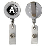 Letter A Initial Black and White Retractable Reel Chrome Badge ID Card Holder