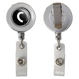 Letter C Initial Black and White Retractable Reel Chrome Badge ID Card Holder