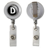 Letter D Initial Black and White Retractable Reel Chrome Badge ID Card Holder