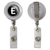 Letter E Initial Black and White Retractable Reel Chrome Badge ID Card Holder