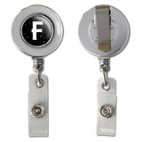 Letter F Initial Black and White Retractable Reel Chrome Badge ID Card Holder