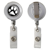 Paw Print White On Black Retractable Reel Chrome Badge ID Card Holder