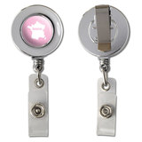 France Home Country Chrome Badge ID Card Holder - Solid Light Pink