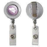 Belgium Home Country Chrome Badge ID Card Holder - Solid Light Rose