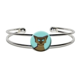 Geometric Cat Siamese Dark Silver Plated Metal Cuff Bracelet