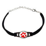 Paw Print - Red on White Novelty Suede Leather Metal Bracelet