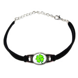 Four Leaf Clover - Lucky - Irish on White Novelty Suede Leather Metal Bracelet