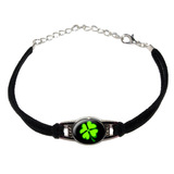 Four Leaf Clover - Lucky - Irish on Black Novelty Suede Leather Metal Bracelet