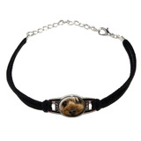 Yorkshire Terrier Yorkie Dog - Closeup Novelty Suede Leather Metal Bracelet