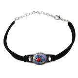 World War 2 II Fighter Plane Aircraft Novelty Suede Leather Metal Bracelet