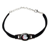 Bulldog Dog Novelty Suede Leather Metal Bracelet