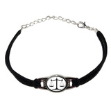 Balanced Scales of Justice Symbol Legal Lawyer Black Novelty Suede Leather Metal Bracelet