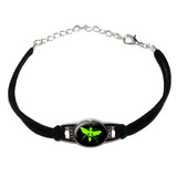 Hornet Wasp - Green Novelty Suede Leather Metal Bracelet