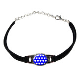Sweet Heart Pattern Blue White Novelty Suede Leather Metal Bracelet