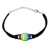 Sweet Heart Pattern Rainbow White Novelty Suede Leather Metal Bracelet