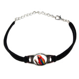 Scarlet Macaw - Bird Parrot Novelty Suede Leather Metal Bracelet