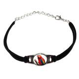 Scarlet Macaw - Bird Parrot Novelty Suede Leather Metal Bracelet