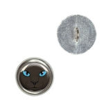 Siamese Cat Face - Pet Kitty Seal Point Buttons - Set of 4