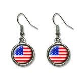 American USA Flag - Patriotic Dangling Drop Earrings