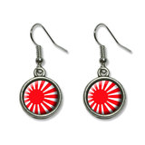 Japan Japanese Flag Rising Sun Dangling Drop Earrings
