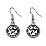 Pentagram - Pentangle Star Wiccan Witch Dangling Drop Earrings