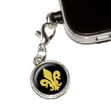 Fleur de Lis - Gold on Black Mobile Phone Charm