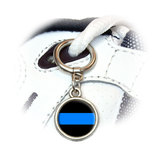 Thin Blue Line Round Dangle Shoe Charm