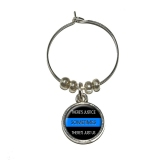 Thin Blue Line - Sometimes Justice Just Us - Police Policemen Wine Glass Charm