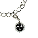 Biohazard Warning Symbol White Zombies Bottlecap Charm
