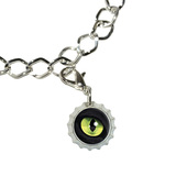 Cat Green Eye Bottlecap Charm