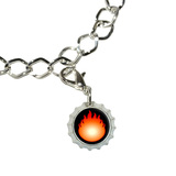 Fire Fireball Bottlecap Charm