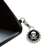 Pirate Skull Crossed Swords - Jolly Roger Mobile Bottlecap Phone Charm