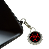 Biohazard Warning Symbol - Zombie Radioactive Mobile Bottlecap Phone Charm
