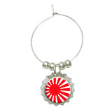 Japan Japanese Flag Rising Sun Wine Glass Bottlecap Charm