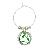 Recycle Reuse Conservation - Hybrid Wine Glass Bottlecap Charm