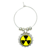 Radioactive Nuclear Warning Symbol Wine Glass Bottlecap Charm