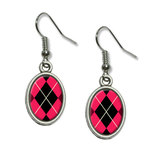 Argyle Hipster Pink - Preppy Dangling Drop Oval Earrings