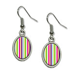Yuppy Colorful Stripes Dangling Drop Oval Earrings