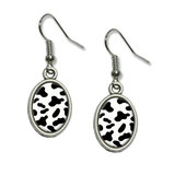 Cow Print Black White Dangling Drop Oval Earrings