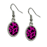 Cow Print Fuchsia Dangling Drop Oval Earrings
